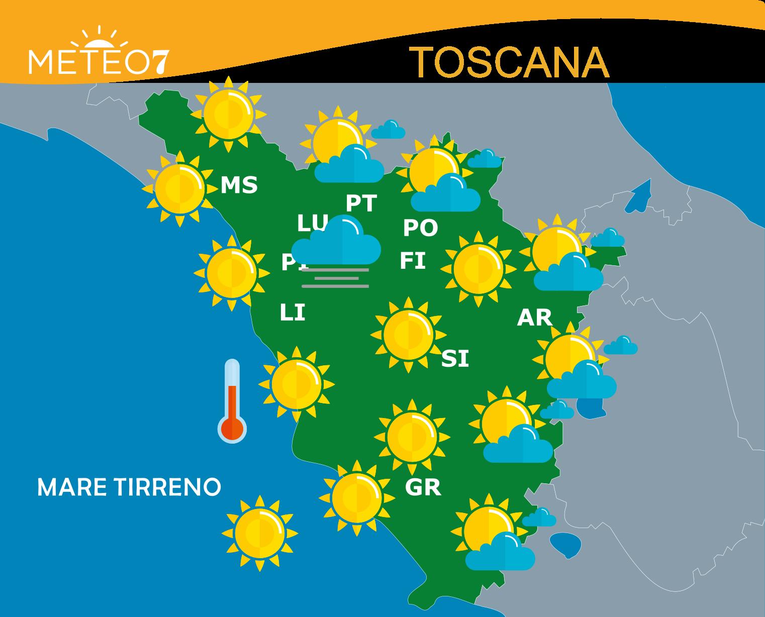 meteo toscana 19 Giugno 2019