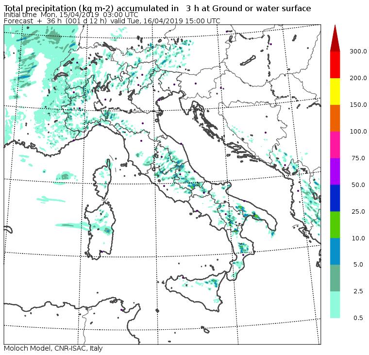 Mappa precipitazioni previste