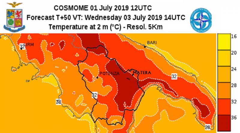 Cartina temperature in Basilicata