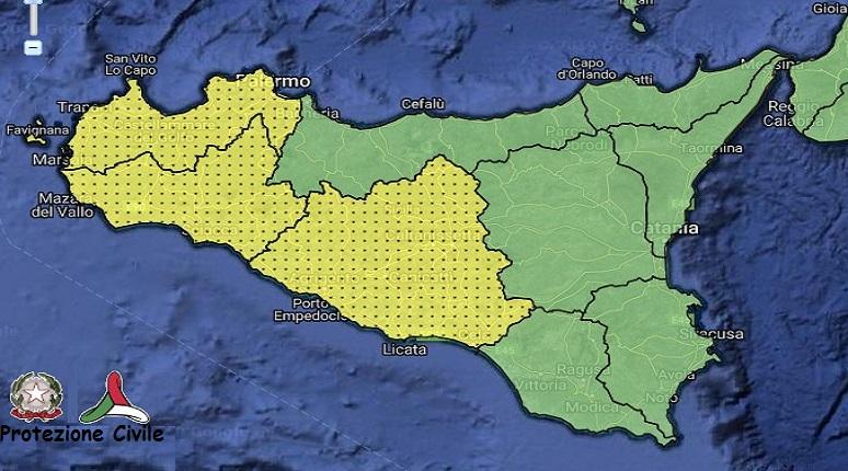 Allerta meteo gialla. Fonte Protezione Civile.