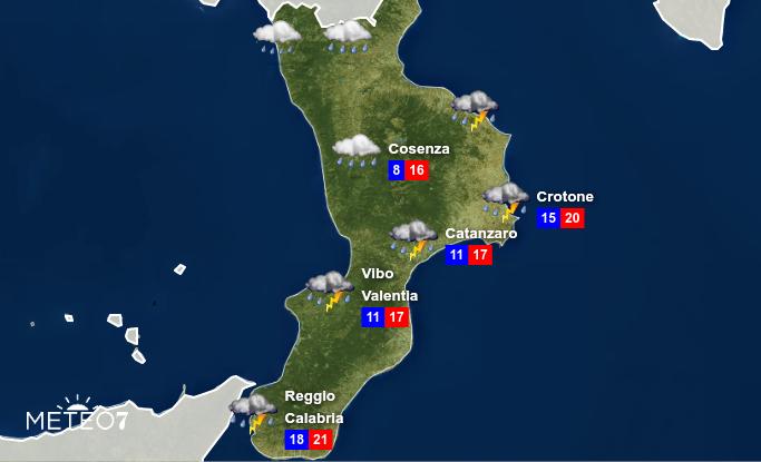Previsioni Meteo sulla Calabria per Lunedì 11 Novembre