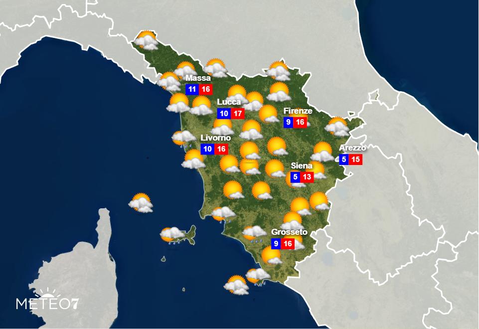 Meteo Toscana Mercoledì 20 Novembre 2019