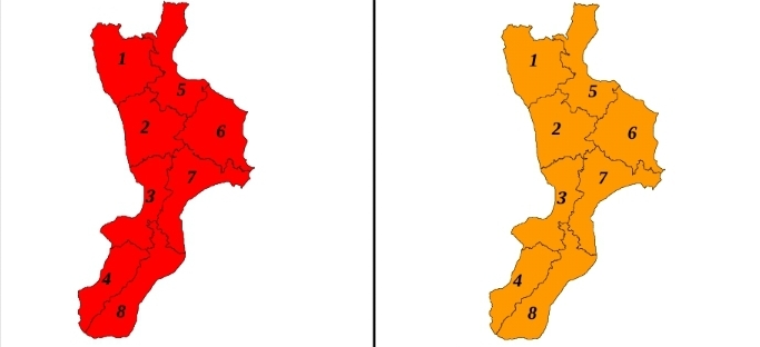 Allerte Meteo Calabria per Domenica 24 (sx) e Lunedì 25 Novembre (dx)
