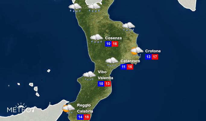 Previsioni Calabria Lunedì 25 Novembre 2019