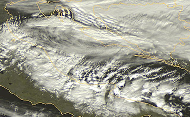 Immagine satellitare dell'Adriatic Effect Snow