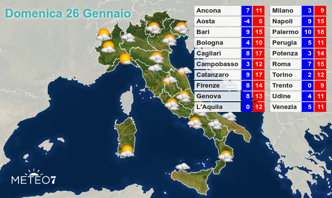 Previsioni del tempo Domenica 26 Gennaio 2020