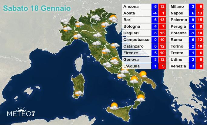 Previsioni Italia Sabato 18 Gennaio 2020