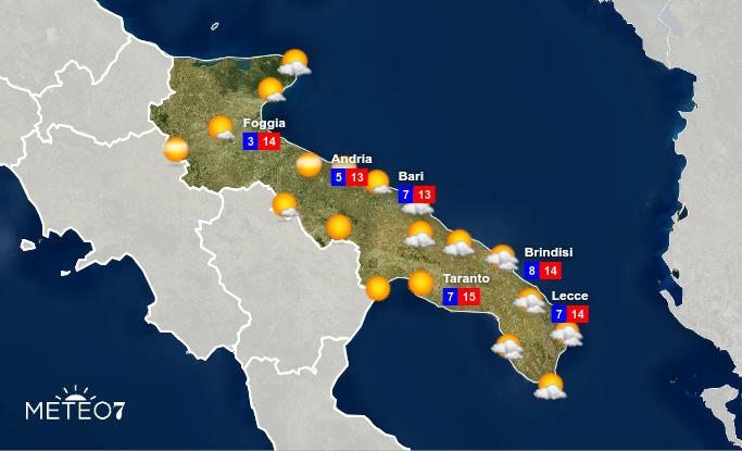 Previsioni Puglia Venerdì 17 Gennaio 2020