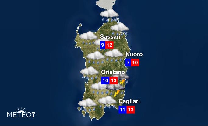 Previsioni Sardegna Lunedì 20 Gennaio 2020