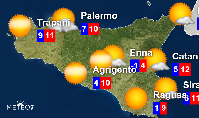 Cartina Meteo Sicilia.Meteo Sicilia Allerta Meteo Gialla Per Giovedi 6 Febbraio 2020 Rischio Idraulico In Queste Zone Meteo7