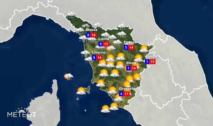 Previsioni Toscana Giovedì 13 Febbraio 2020