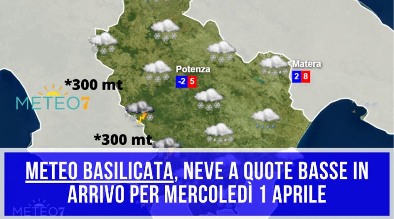 METEO Basilicata 1 Aprile NEVE a quote PIANEGGIANTI, accumuli superiori a 15 CM in QUESTI settori