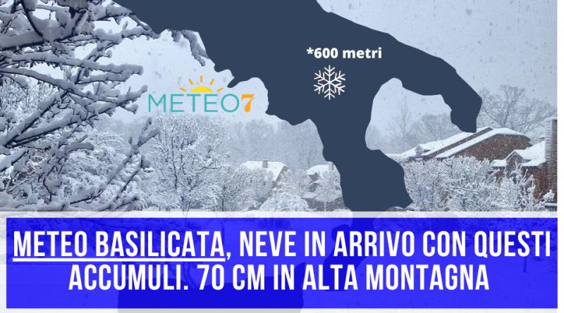 METEO Basilicata NEVE con QUESTI ACCUMULI per Mercoledì 25 e Giovedì 26 Marzo 2020