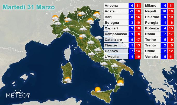 Previsioni Italia Martedì 31 Marzo 2020