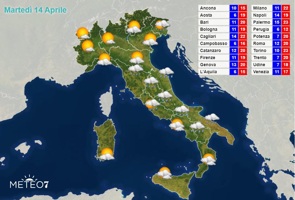 Meteo Italia Martedì 14 Aprile 2020