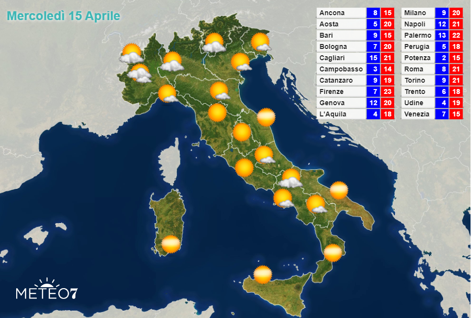 Meteo Italia Mercoledì 15 Aprile 2020