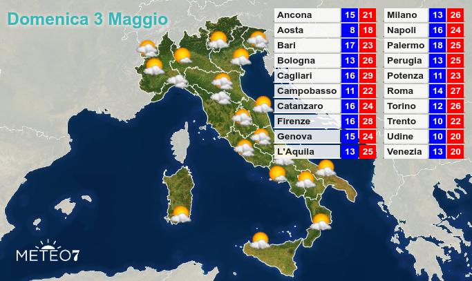 Previsioni Italia Domenica 3 Maggio 2020
