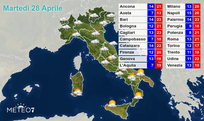Previsioni Italia Martedì 28 Aprile 2020
