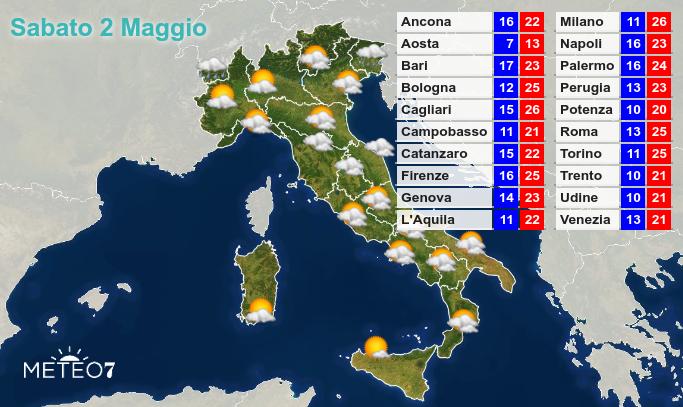 Previsioni Italia Sabato 2 Maggio 2020