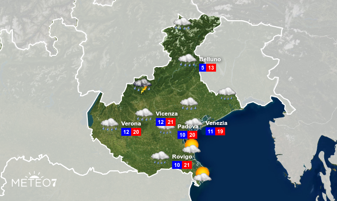 Previsioni Veneto Giovedì 30 Aprile 2020