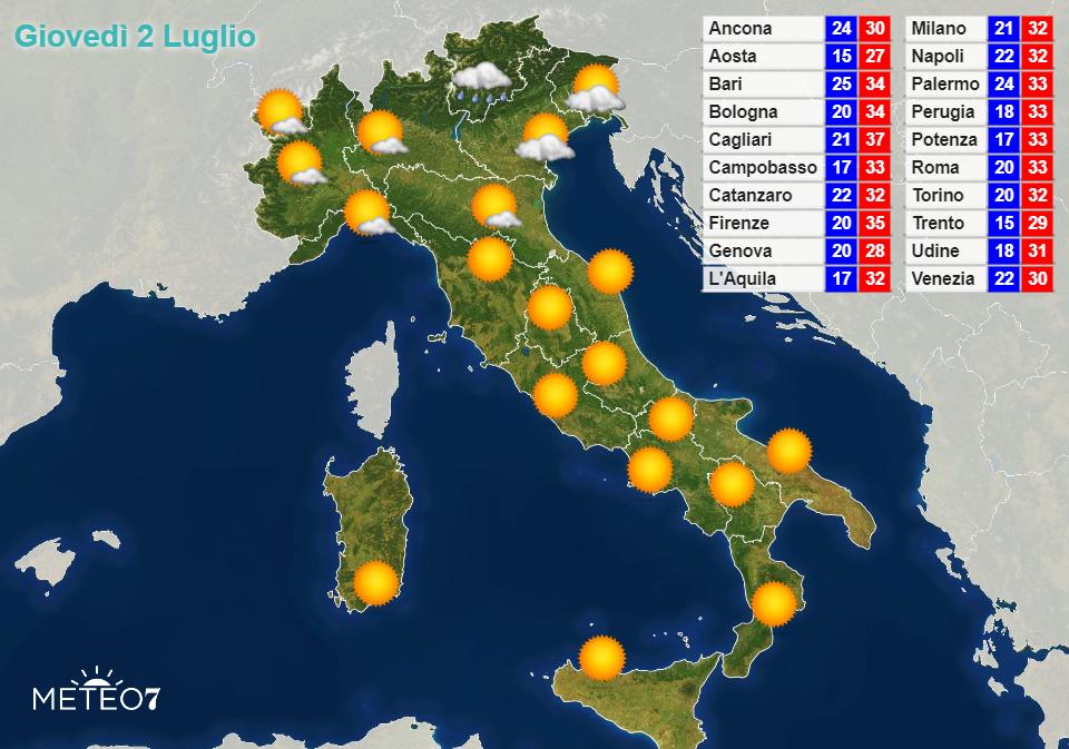 Previsioni Italia Giovedì 2 Luglio 2020
