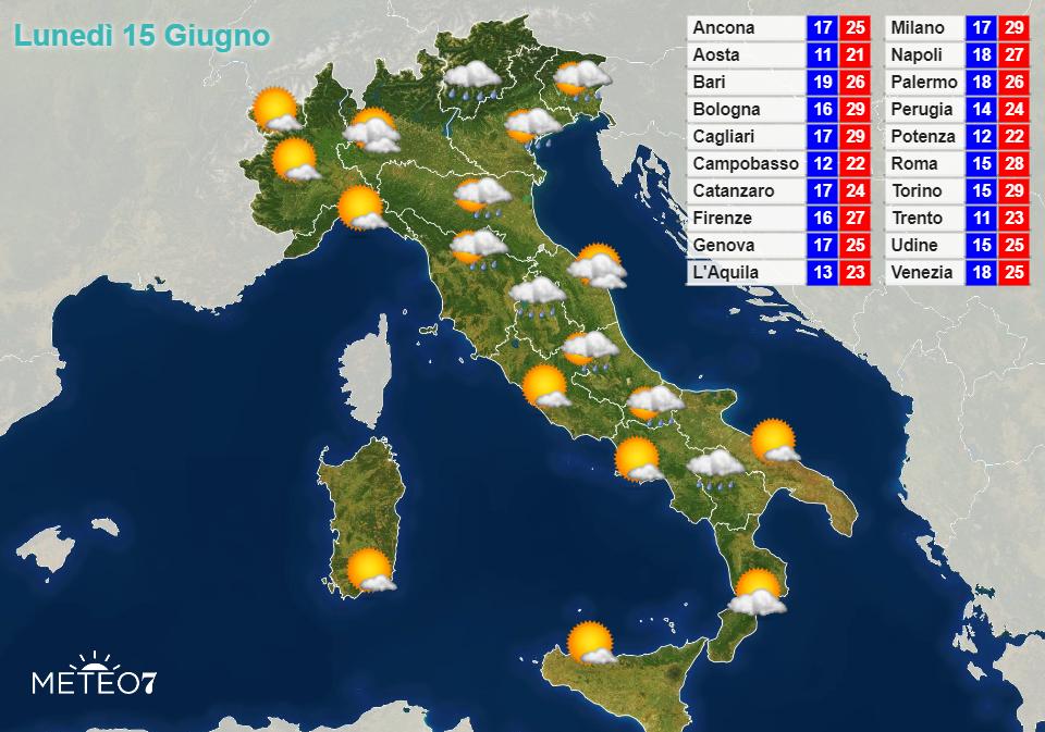 Previsioni Italia Lunedì 15 Giugno 2020