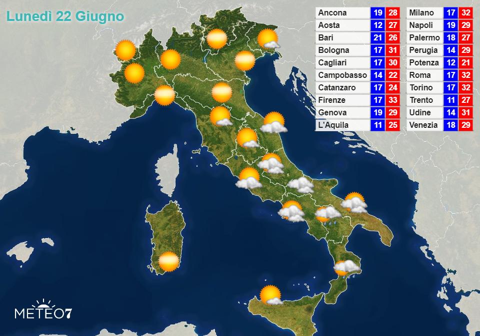 Previsioni Italia Lunedì 22 Giugno 2020