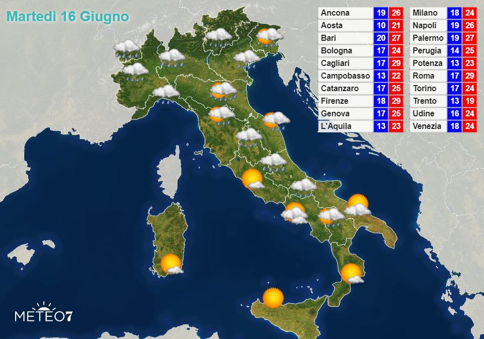 Previsioni Italia Martedì 16 Giugno 2020