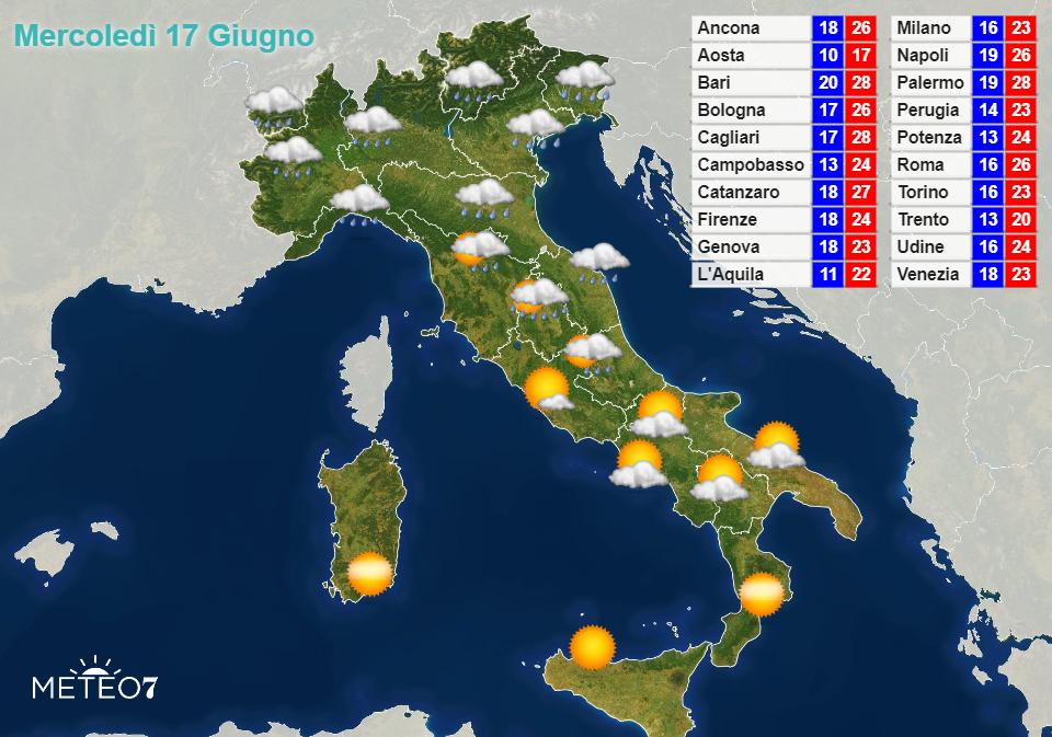 Previsioni Italia Mercoledì 17 Giugno 2020