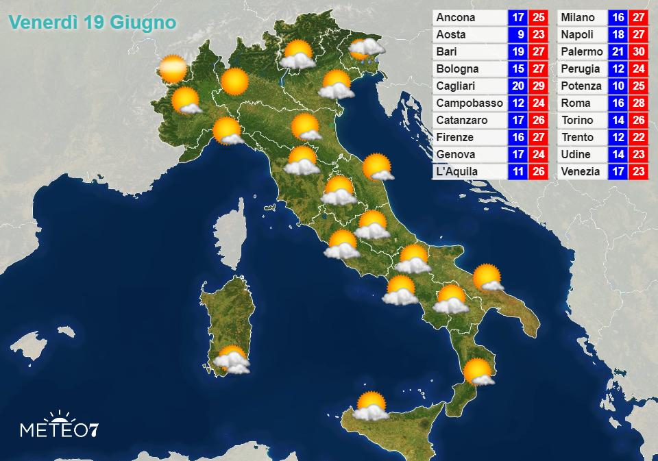 Previsioni Italia Venerdì 19 Giugno 2020