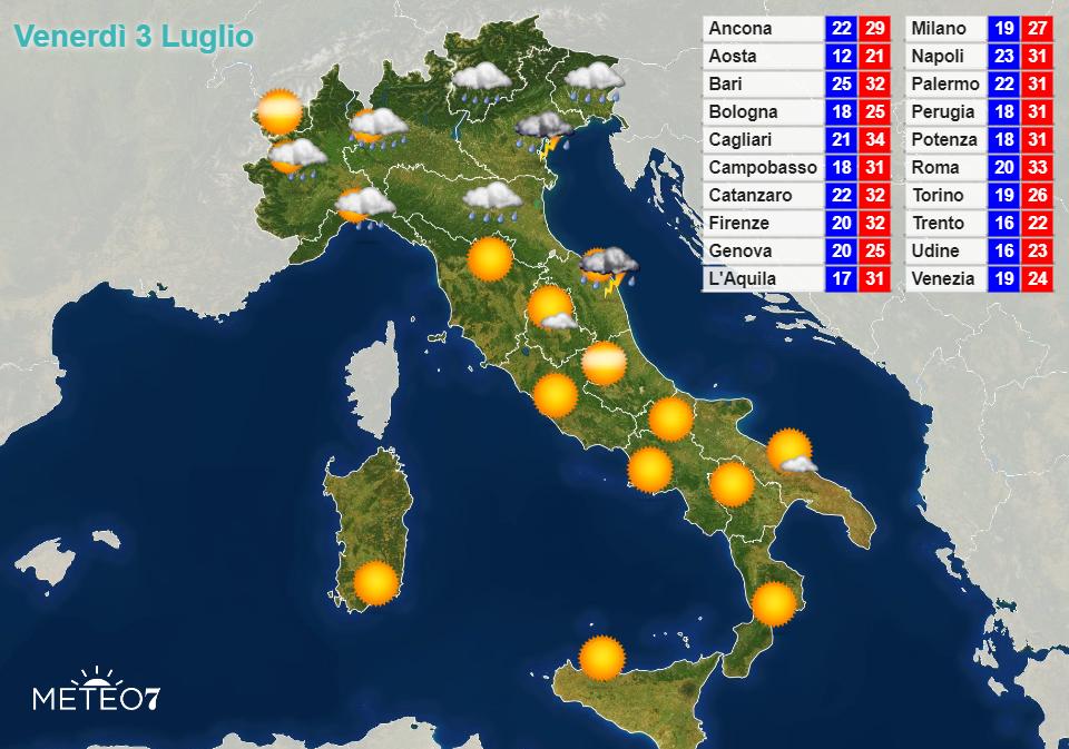 Previsioni Italia Venerdì 3 Luglio 2020