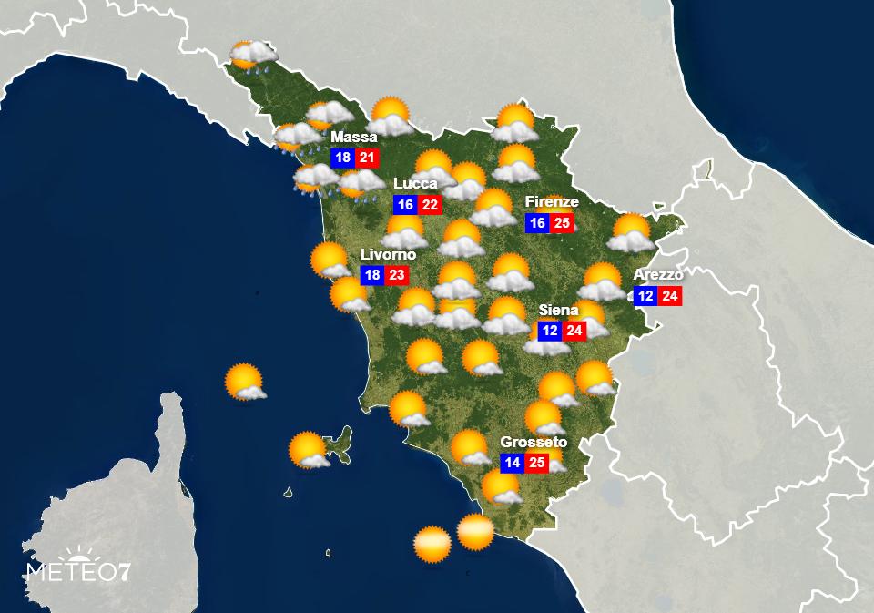 Previsioni Toscana Sabato 6 Giugno 2020