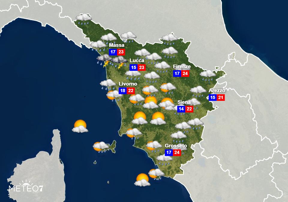 Previsioni Toscana Venerdì 5 Giugno 2020