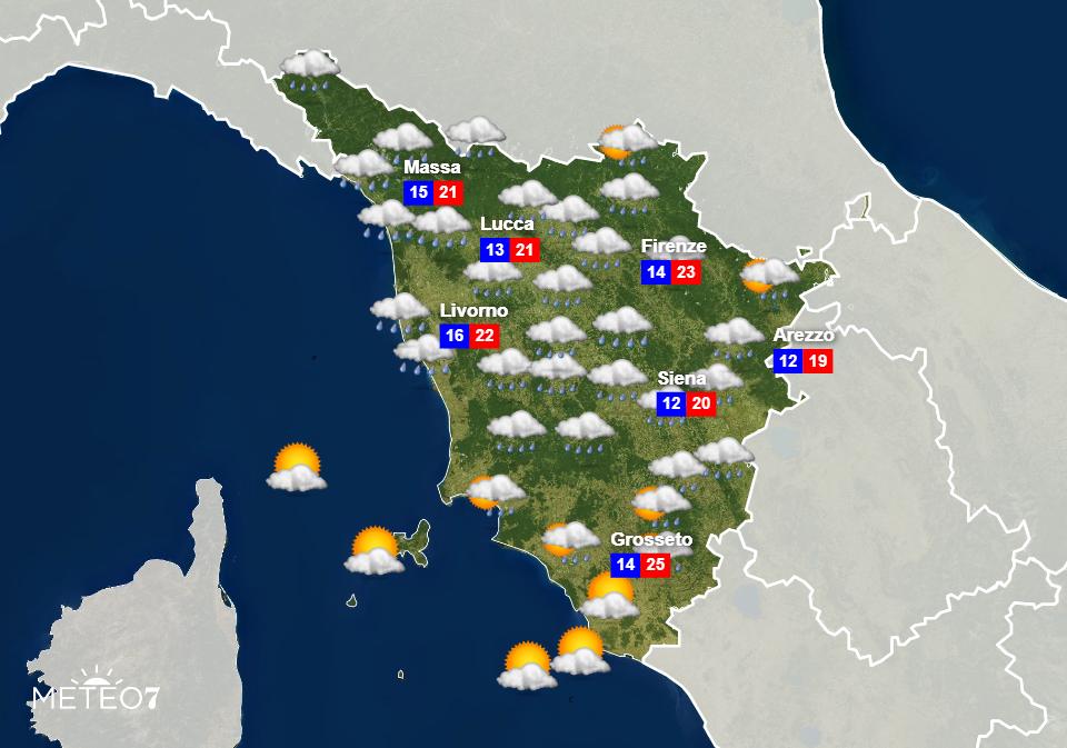 Previsioni Toscana Giovedì 11 Giugno 2020