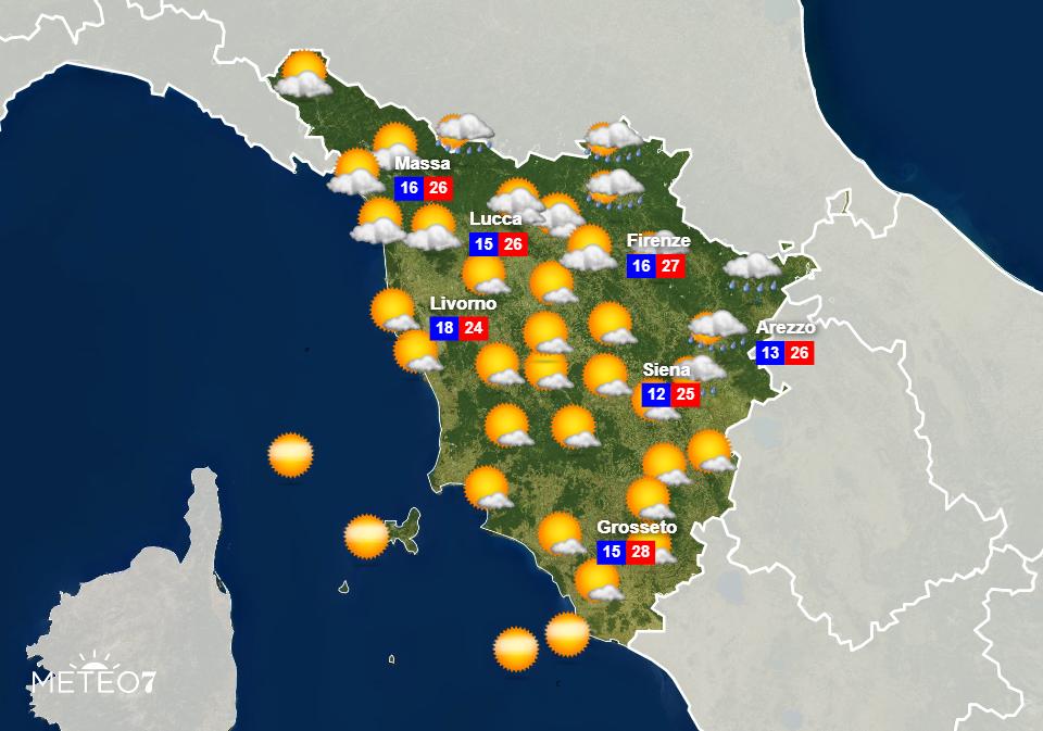 Previsioni Toscana Lunedì 15 Giugno 2020