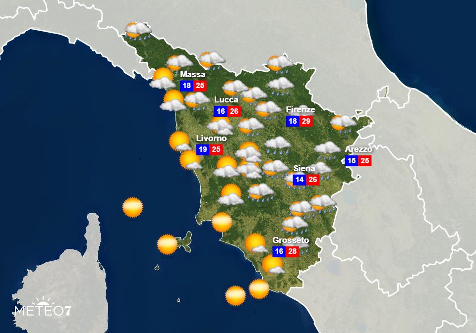 Previsioni Toscana Martedì 16 Giugno 2020