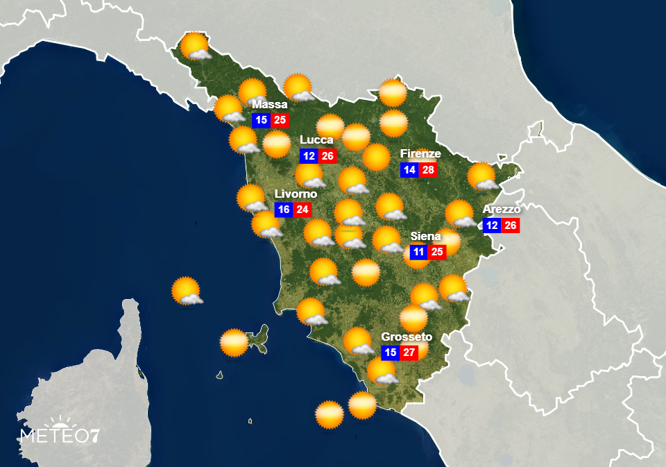 Previsioni Toscana Venerdì 12 Giugno 2020
